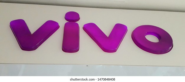 Sao Paulo / Brazil - August 04 2019: Closeup of the lettering and logo of Vivo telecommunications company shop on its facade.