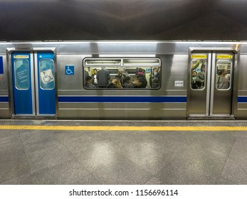 Sao Paulo, Brazil, August 14, 2018. Subway train in platform of station in Sao Paulo
