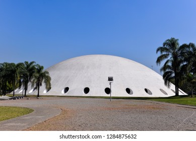 SAO PAULO, BRAZIL - AUGUST 14, 2015: Lucas Nogueira Garcez Pavillion also known as Oca has been projected by Oscar Niemyer in 1951. Exhibition space in Ibirapuera Park