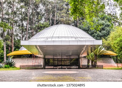 SAO PAULO, BRAZIL - AUGUST 14, 2015:The Professor Aristóteles Orsini Planetarium also known as the Ibirapuera Planetarium is a planetarium in Ibirapuera Park, São Paulo.