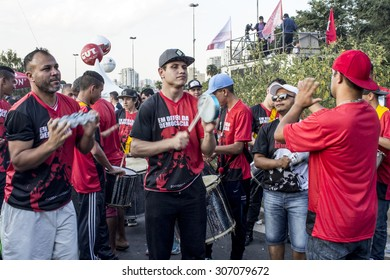 Sao Paulo, Brazil, August 16, 2015. Mass demonstrations in favor of democracy and the government  president Dilma Rousseff, in Lula Institute in Sao Paulo