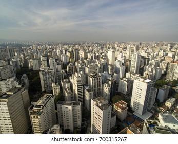 Sao Paulo, Brazil, August, 2017. Aerial view on Hospital das clinicas in Sao Paulo city