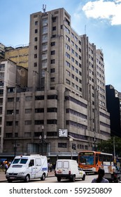 SAO PAULO, BRAZIL - AUGUST 21, 2013: Old building of Mappin at Praca Ramos de Azevedo square with the traditional clock.
