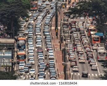 Sao Paulo, Brazil, August 23, 2018. Aerial view of traffic Jam in Paulista Avenue, downtown Sao Paulo