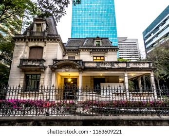 Sao Paulo, Brazil, August 24, 2018. Facade of Casa das Rosas, House of Roses in  portuguese, a cultural and literary Center,