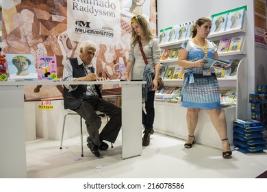 Sao Paulo, Brazil - August 26, 2014: Ziraldo, Brazilian author, painter, comic creator, and journalist at the 23rd Sao Paulo International Book Biennial fair.