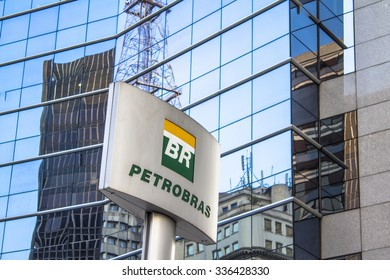 Sao Paulo, Brazil, August 26, 2015. Petrobras Building in Paulista Avenue, downtown Sao Paulo. Petrobras is oil and gas industry giant in Brazil.