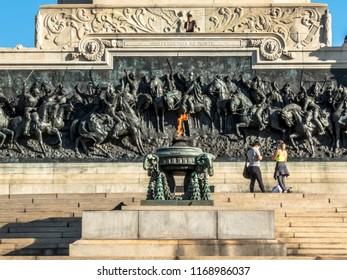 Sao Paulo, Brazil, August 29, 2018. Detail of Monument to Independence on Independence Park, opened in 1922, USP Paulista Museum also called Museu do Ipiranga