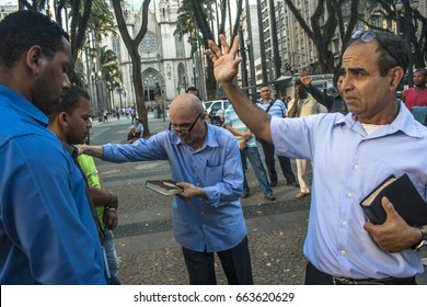 Sao Paulo, Brazil, August 29, 2011. Man evangelical preacher explains God's Word in Se Square in downtown Sao Paulo