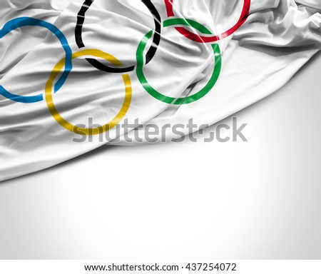 SAO PAULO, BRAZIL - CIRCA JUNE 2016: Flag with the Olympics symbol