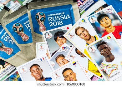 SAO PAULO, BRAZIL - CIRCA MARCH 2017: Panini FIFA World Cup Russia 2018 Official Licensed Sticker Album