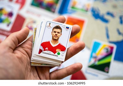 SAO PAULO, BRAZIL - CIRCA MARCH 2018: Panini FIFA World Cup Russia 2018 Official Licensed Sticker Album. (Russian Page)