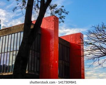 SAO PAULO, BRAZIL - CIRCA MAY 28, 2019: The Sao Paulo Museum of Art (in Portuguese, Museum of Art of Sao Paulo, or MASP) located on Paulista Avenue in the city of Sao Paulo, Brazil.