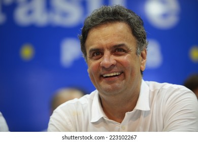 SAO PAULO, BRAZIL - CIRCA SEPTEMBER 2014 - Brazil opposition presidential candidate Aecio Neves.   Political campaign 2014.