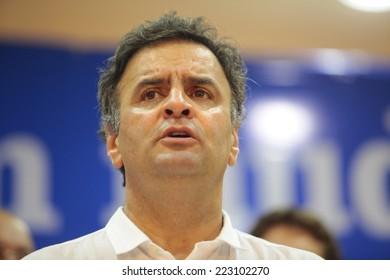 SAO PAULO, BRAZIL - CIRCA SEPTEMBER 2014 - Brazil opposition presidential candidate Aecio Neves.   Political campaign 2014.