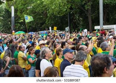SAO PAULO, BRAZIL - DECEMBER 04, 2016: Anti-corruption protest with people taking Paulista Avenue.