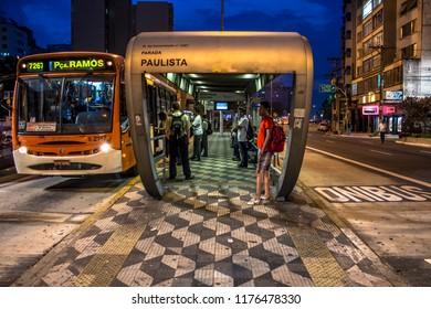 Sao Paulo, Brazil, December 05 ,2012. Paulista bus stop at the corner of Consolacao Street and Paulista Avenue, downtown Sao Paulo.