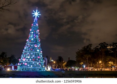 Sao Paulo, Brazil, December 10, 2018: Illuminated traditional Christmas tree in Ibirapuera, at night, it is of the attraction in the south zone of the city of Sao Paulo