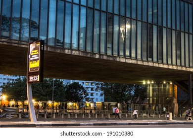 SAO PAULO, BRAZIL, DECEMBER 13: Transit and bus lane in front to The Sao Paulo Museum of Art MASP. The building  is a symbol of Brazil. located on Paulista Avenue in the city of Sao Paulo.