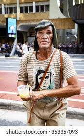 Sao Paulo, Brazil - December 13, 2015: Portrait of a street performer that mimics the iconic character of the Mexican television: 'El Chavo'.
