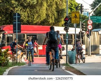 Sao Paulo, Brazil, December 14, 2018. Traffic of cyclists on bicycle lane in Faria Lima Avenue, in Sao Paulo city, Brazil