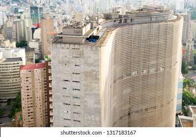 Sao Paulo, Brazil, december 2018. Aerial view of the city downtown district seen from the top of Edificio Italia, in the fore ground the famous Edificio Copan a landmark of this city