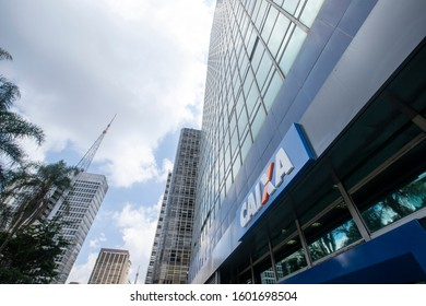 Sao Paulo, Brazil -  december 29 2019 - Building and logo of bank branch of Caixa Economica Federal ( CEF ). Is a financial institution, in the form of a public company.