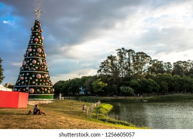 Sao Paulo, Brazil, December 3, 2018:Traditional Christmas tree in Ibirapuera, it is of the attraction in the south zone of the city of Sao Paulo.