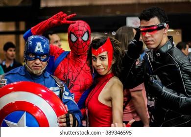 SAO PAULO, BRAZIL, DECEMBER 5, 2015: Cosplayers during Comic Con Experience in Sao Paulo, Brazil.