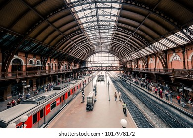 SAO PAULO, BRAZIL - FEBRUARY 02: Wide angle picture of beautiful english architecture of Luz Station, located in Sao Paulo, Brazil