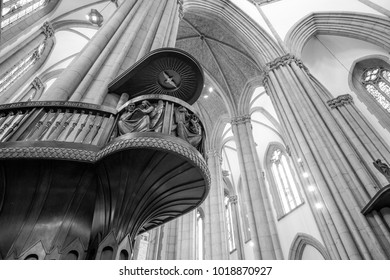 SAO PAULO, BRAZIL - FEBRUARY 02: Black and white picture of wooden stair and huge columns inside Se Cathedral located in the center of Sao Paulo, Brazil