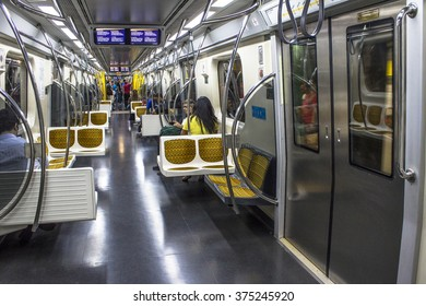 Sao Paulo, Brazil, February 04, 2016: Inside to wagon of yellow line to subway. The system length of 66 km and passenger traffic for day 4 million.
