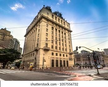 Sao Paulo, Brazil, February 08, 2018. Anhangabau Palace or Matarazzo Building, City Hall in Sao Paulo since 2004, located in Anhangabau Valley, near the Viaduct of Tea.
