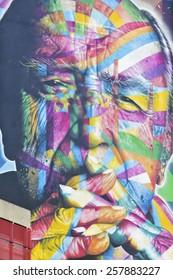 SAO PAULO, BRAZIL  FEBRUARY 08, 2015: A big and color mural on the wall from Brazilian graffiti artist Kobra at Paulista Avenue in Sao Paulo Brazil.