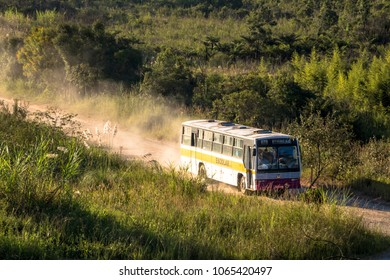 Sao Paulo, Brazil, February 17, 2017. School bus in dirt road, in the Parelheiros neighborhood, extreme south of Sao Paulo