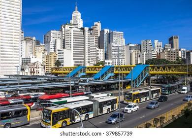 Sao Paulo, Brazil, February 18, 2016.. Dom Pedro II Bus Terminal in Sao Paulo, Brazil.