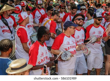 Sao Paulo, Brazil February 18, 2017: An unidentified group of people singing and dancing at popular type of street carnival at Passaram a Mao na Pompeia Samba Group in Sao Paulo, Brazil.