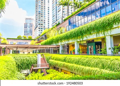 SAO PAULO, BRAZIL- FEBRUARY 19: Ecologic building with plants on the external part on February 19, 2014 in Sao Paulo, Brazil. The green areas contribute to the cooling of the building.