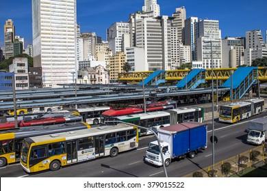Sao Paulo, Brazil, February 19, 2016.. Dom Pedro II Bus Terminal in Sao Paulo, Brazil.