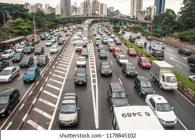 Sao Paulo, Brazil, February 21, 2011. Traffic jam in 23 de Maio Avenue, in rainy day
