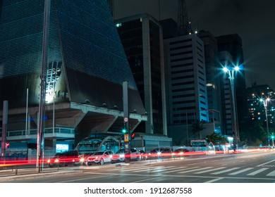 Sao Paulo, Brazil - February 6, 2021 -Movement of car lights at night on Avenida Paulista.