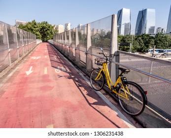 Sao Paulo, Brazil, January 09, 2019. Cyclist on bicycle Lane near of Pinheiros River, West side of Sao Paulo