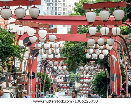Sao Paulo, Brazil, January, 15, 2019: Oriental street market in Liberdade neighborhood, Japanese and other Asian immigrants reside, Sao Paulo, Brazil
