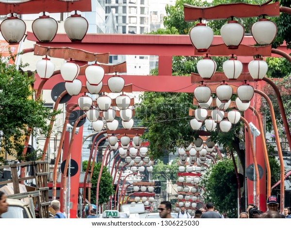 Sao Paulo, Brazil, January, 15, 2019: Oriental street market in Liberdade neighborhood, Japanese and other Asian immigrants reside, Sao Paulo, Brazil