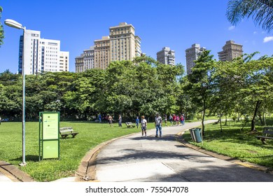 Sao Paulo , Brazil, January 20, 2012, People in Villa Lobos Park. The park is a good place for walkers, cycling and an oasis for the skaters.