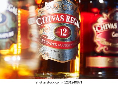 SAO PAULO, BRAZIL - JANUARY, 2019: Chivas Regal 12yo between two other bottles (18yo on the left and special edition Chivas Regal Extra).