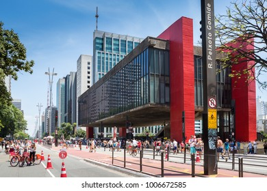 Sao Paulo, Brazil. January 21, 2018.A typical Sunday on Paulista Avenue with MASP, Sao Paulo Museum of Art in the background, Brazil.