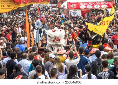 SAO PAULO, BRAZIL, JANUARY 26, 2008, People take part in the celebration of Chinese New Year in Liberdade district, in Sao Paulo , Brazil.