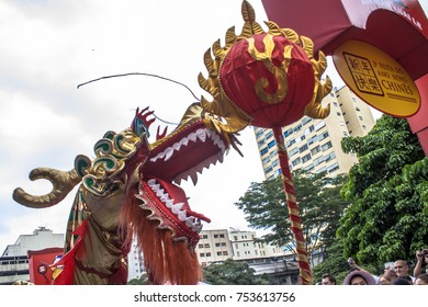 Sao Paulo, Brazil, January 26, 2008, People take part and watching lion dance in the celebration of Chinese New Year in Liberdade neighborhood, in Sao Paulo , Brazil.