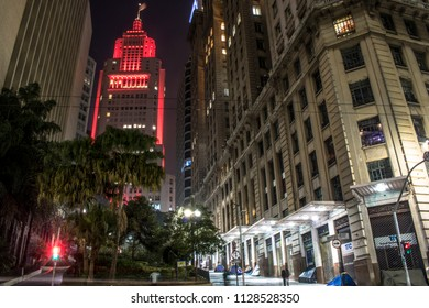 Sao Paulo, Brazil, July 06, 2018: skyline in downtown Sao Paulo, with Old Banespa (Altino Arantes), Martinelli and Bank of Brazil buildings, at night.